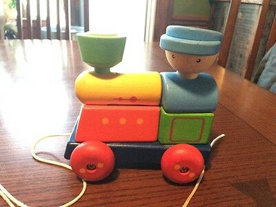 wood pull toy train puzzle classic engine baby toddler toy