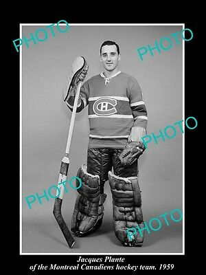 Old Historic Photo Of Montreal Canadiens Nhl Hockey Great Jacques Plante 1959