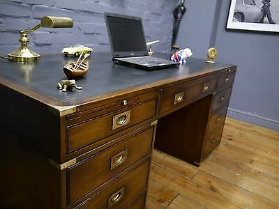 Large Mahogany Military Campaign Twin Pedestal Writing Desk Black Leather Top