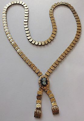 """Victorian Gold Filled """"bookchain"""" Cameo Necklace With Tassels"""