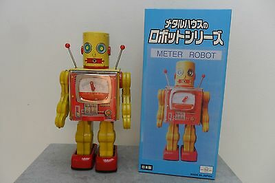 Rare Meter Robot Battery Operated by RM Metal House Toys Made in Japan Box