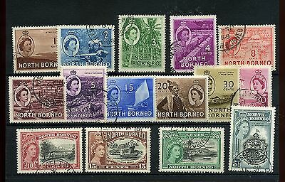 North Borneo15 -- Qe2 1954/7 Used Stamps On Stockcard. Includes $1.