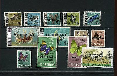 "Tanzania.13-- Post Commonwealth Used Stamps On Stockcard With ""official"" O/p"