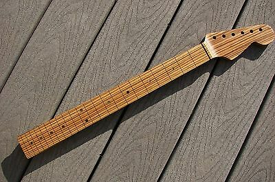 Gorgeous Quartersawn Zebrawood Strat Guitar Neck Handcrafted in the USA