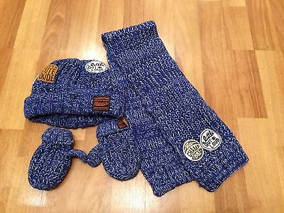 Next Boys Blue Knitted 3 Piece Set Of Hat Scarf And Mittens Age 1-2 Years