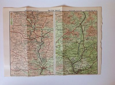 The Exe Valley Antique Map c1922, Northern & Southern Section Bartholomew