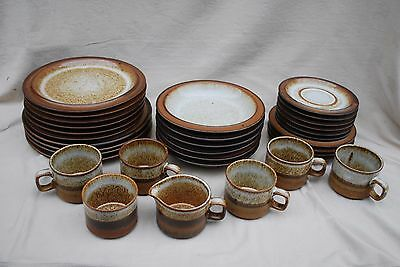 Brown & grey/cream striped and mottled pattern pottery some marked Dunoon.