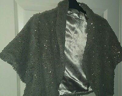 Sparkly Grey Faux Fur Shrug Ebellished with Sequins Never worn Extra Large
