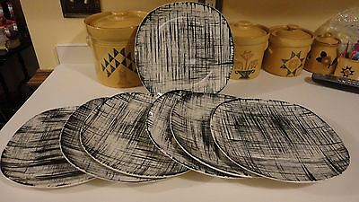 7 Edwin Knowles EBONETTE Dinner Plates Mid Century Pottery Free Shipping!