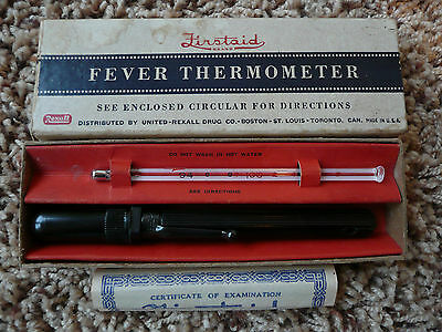 Vintage Firstaid Fever Thermometer Kessling United Rexall Box Certificate 1940's