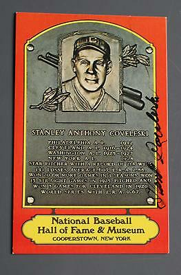 Stanley Coveleski Autographed HOF PLaque (red)!!