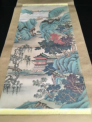 Vtg. Chinese Wall Hanging Scroll Hand Painting Landscape Silk Porcelain, Signed