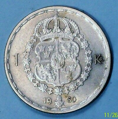 Sweden  Krona 1950 Ts Almost Uncirculated 0.4000 Silver Coin