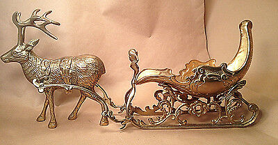 Vintage Solid Brass Reindeer and Sleigh Perfect for Santa, Candy, Greenery