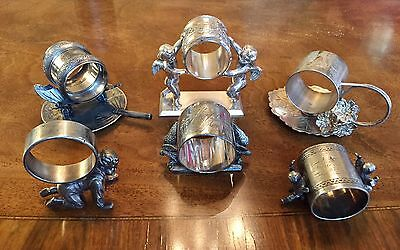 Collection Of 6 Antique Figuratively Silver Plated Napkin Rings Meriden