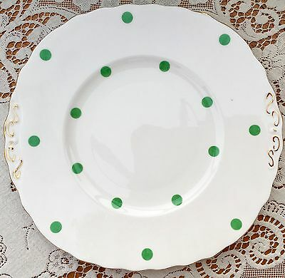 ROYAL VALE BONE CHINA 1960s CAKE PLATE - GREEN POLKA DOTS - GILDED TABS