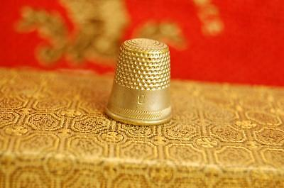 Vintage Thimble Silver Metal Looking  With #8  -F9