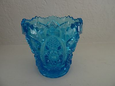 Imperial Glass Daisy Button Hobstar Toothpick Holder IG Blue