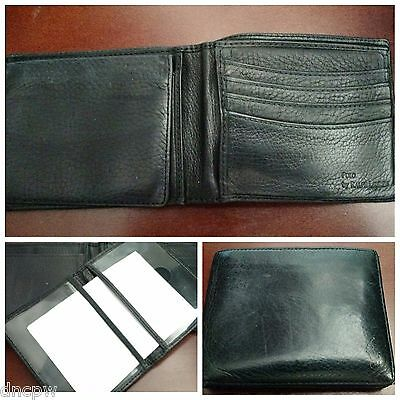 Vintage 90s Polo Ralph Lauren black bifold leather wallet removable ID case $110