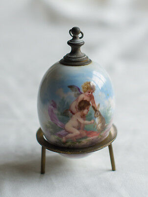 Rare Antique KPM Berlin Porcelain Scenic Perfume Egg Bottle with Brass Stand