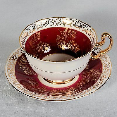 Adderley Teacup & Saucer - White/maroon Decorated With Floral Centre