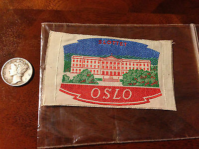 Vintage Norge Norway Norwegian Oslo Slottet Royal Palace Travel Souvenir Patch