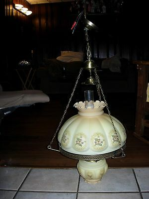 Vintage Victorian Style Hanging Light Assembly Glass Shades & 2 Bulbs Adjustable