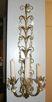 Candle Sconces of Crystal and Bronze