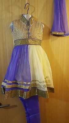 New Indian asian anarkali salwar kameez Purple/white Size 22 for girls eid