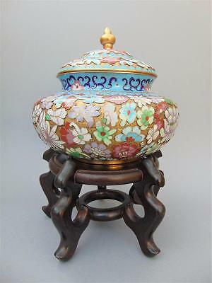 Chinese Champleve Cloisonne Lidded Vase / Urn Early 20th Century
