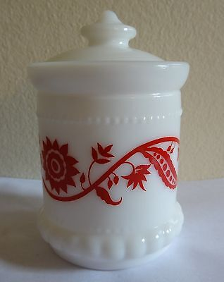 Vintage White Milk Glass Red Floral Design Mustard Jar