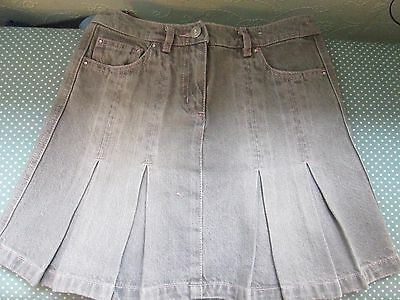 Next girls grey pleated denim skirt age 9 years in excellent condition