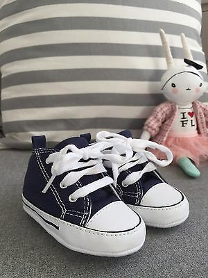 Baby Converse soft high tops navy shoes brand new UK size 3