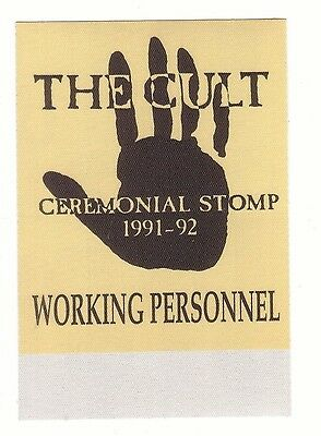 THE CULT backstage pass tour SATIN WORKING ceremonial stomp 1991 cloth
