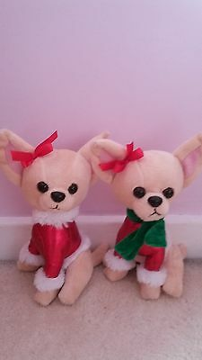 2 Super Cute Christmas Dressed Chihuahua Puppy Dog Soft Toys.