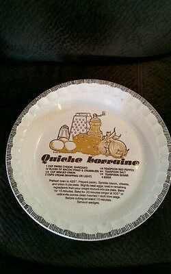Vtg Royal China by Jeannette Quiche Lorraine Recipe Pie Dish / Country Harvest