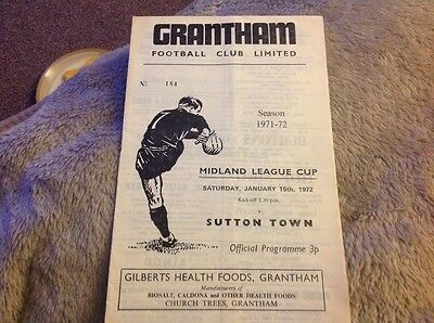 Grantham Town v Sutton Town Midland League Cup 15th January 1972