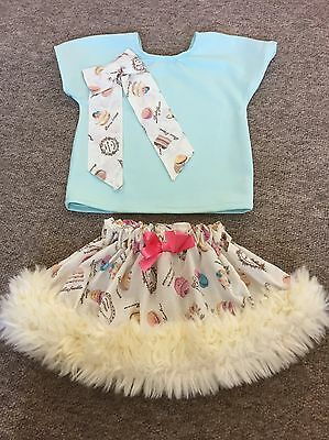 Girls Spanish Top And Skirt Set Outfit Faux Fur Trim 18-24 Months
