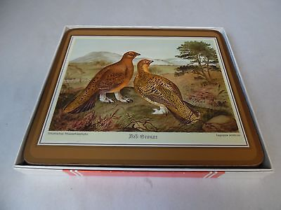 Vintage 4 Piece Set of Pimpernel Acrylic Cork Backed Placemats in Box Birds