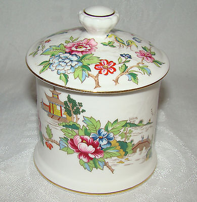 Crown Staffordshire ENGLAND Pagoda Pattern Covered Jam Jelly Condiment Jar