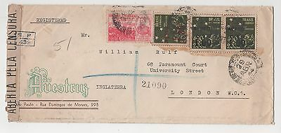 "Brazil - 1944 Registered / Censored Cover ""sao Paulo"" To Uk"