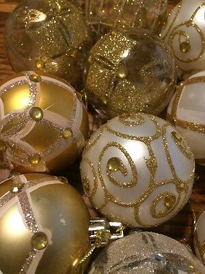 Christmas Ornaments Lot Of 14 White Gold Clear Glitter Plastic