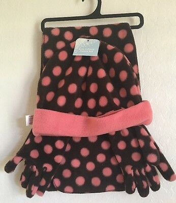 NWT Kids 3-Piece Scarf Set. Pink/Brown Age 8-12