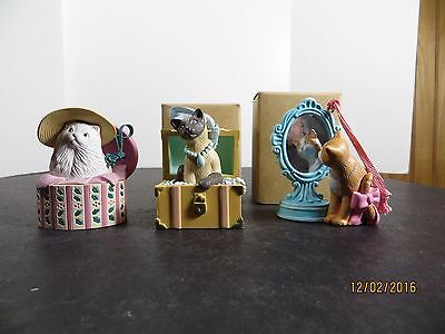 Avon Christmas Dress Up Ornaments Cats Lot of 3