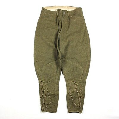Original Us Army Enlisted Men / Em Od Wool Breeches Pants Trousers - W32 L27