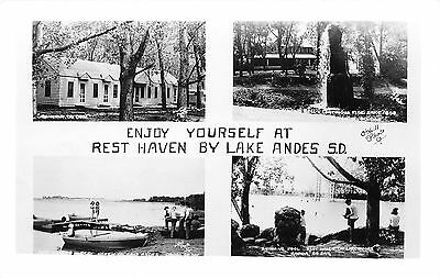 Ravinia-Lake Andes SD Resthaven Cabins~Bathing Beauties~Swimming Pool RPPC c1950
