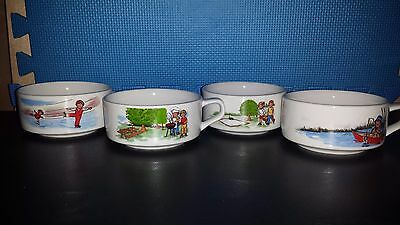 Kids Soup  Bowls Collectible Set of 4 Vintage 1980's
