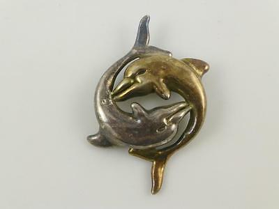 Yellow Gold Plated Vermeil Round Two Dolphins Porpoise Delfin Pin