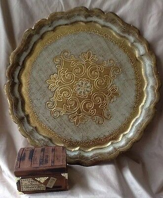 Vintage Gold  Brown Embossed Italian Florentine Painted Wood Tole Tray Round