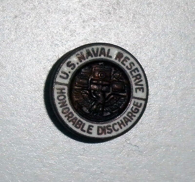 USNR US Naval Reserve Vintage  WWII White Enamel Honorable Discharge Lapel Pin
